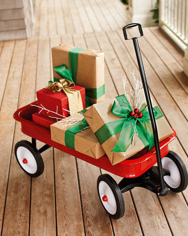 wagon with - Outdoor Porch Christmas Decorations
