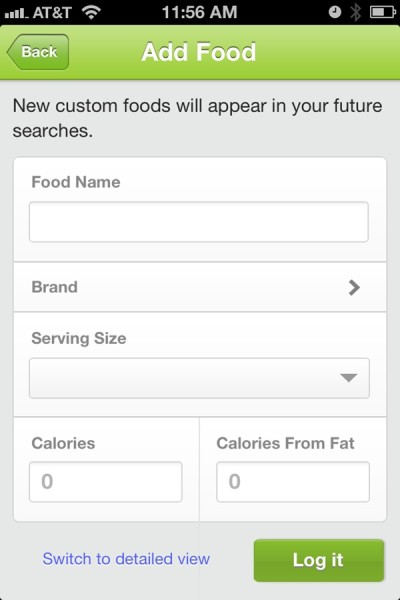 Fitbit Custom Food