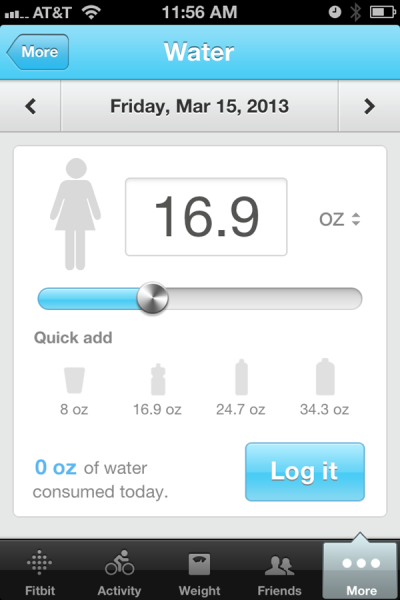Fitbit Water Log