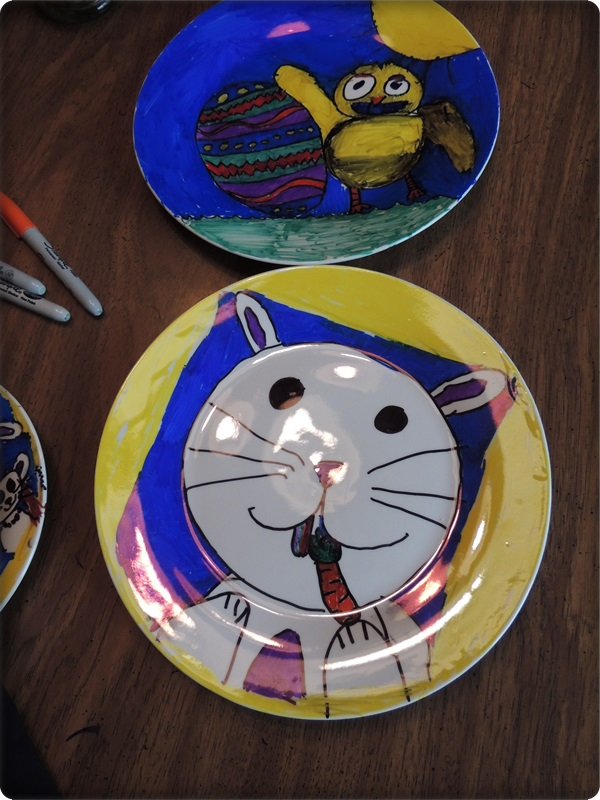 Kids Craft Easter Sharpie Plates
