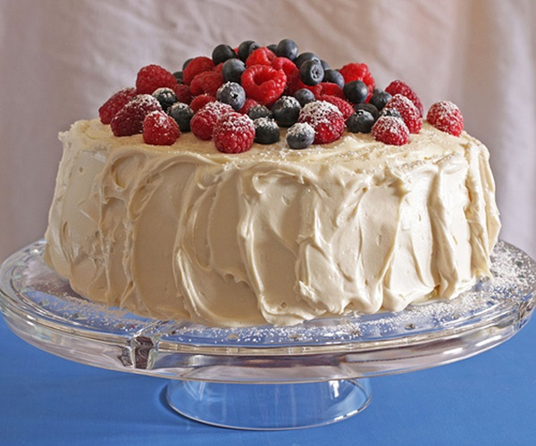 4th of July Desserts - Red Velvet Cake with Blueberries & Raspberries