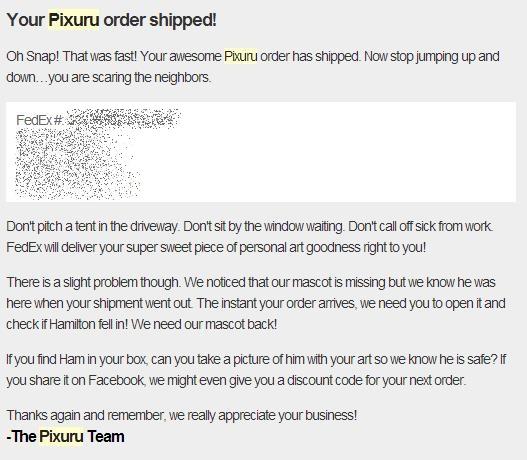 Pixuru Shipped