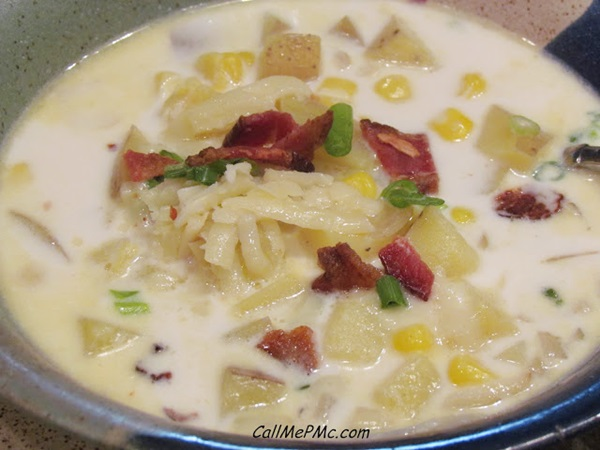 For this recipe visit: Corn and Potato Chowder from Call me PMc