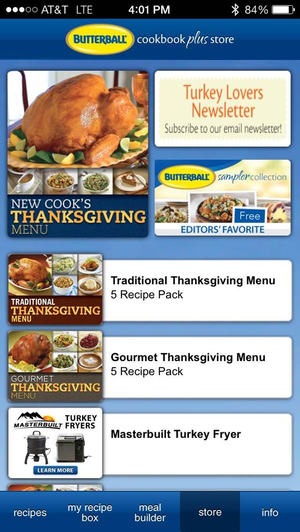 Butterball Cookbook Plus App Home