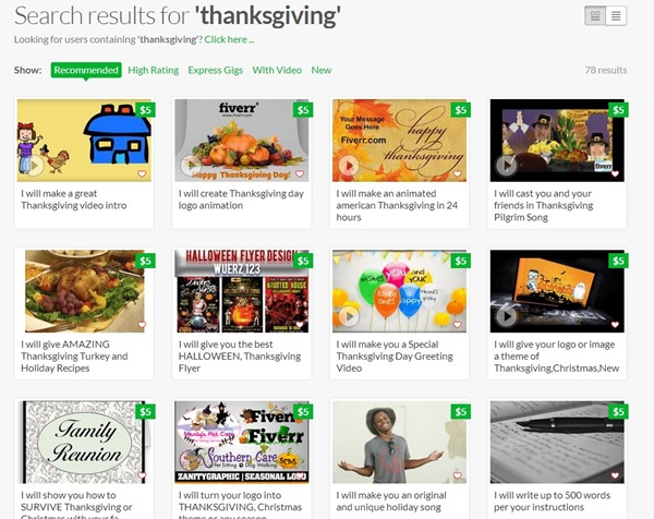 Fiverr Thanksgiving