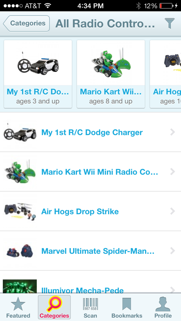 Shop for Kids App RC cars