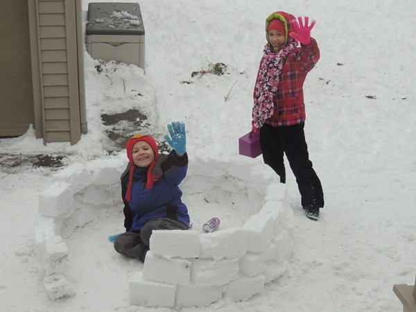 Building a Fort Out Of Snow