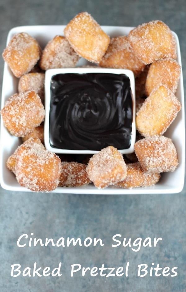 Cinnamon Sugar Baked Pretzel Bites - 2 Wired 2 Tired