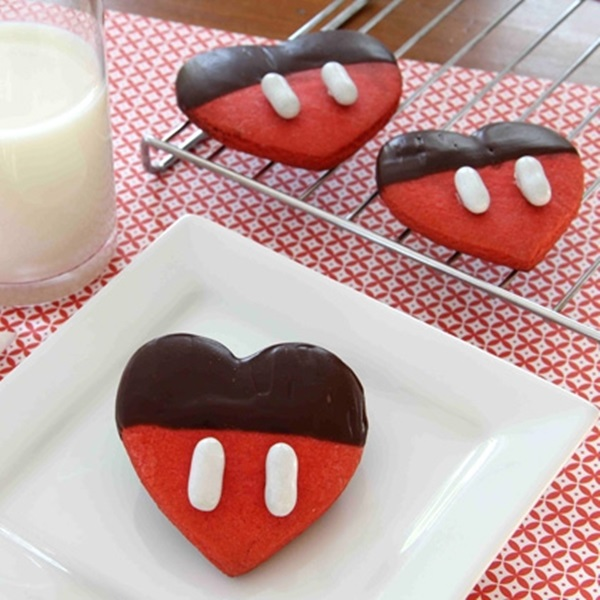Mickey's Chocolate dipped Valentine's Cookies