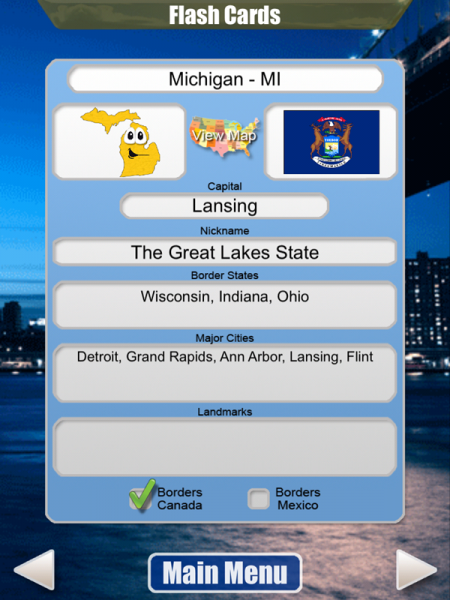 Stack The States Flashcard