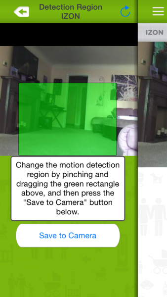 Izon View Motion Detection Area