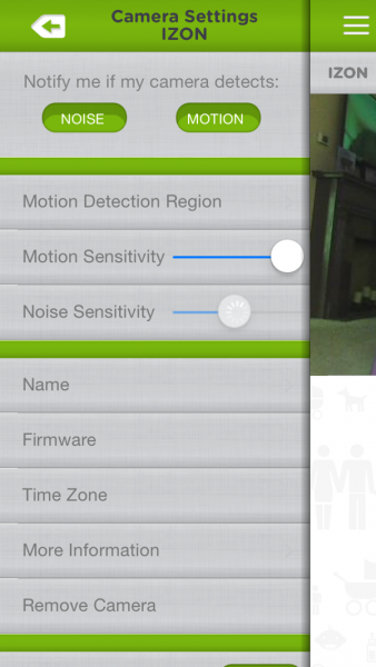 Izon View Motion Sensitivity