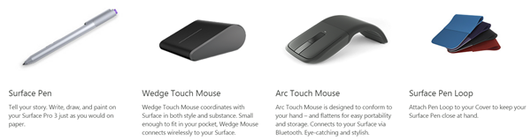 Surface Pro 3 mouse and pens
