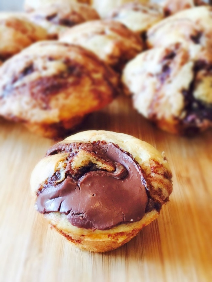 Nutella Swirled Mini Pancake Muffins Recipe