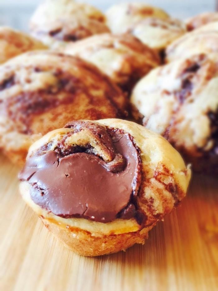 Nutella Swirled Mini Pancake Muffins