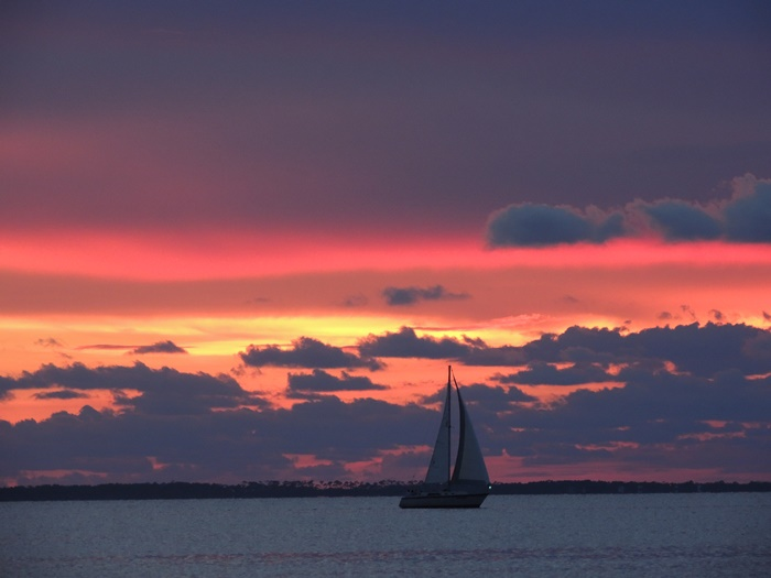 Gulf County Sunset and Sailboat