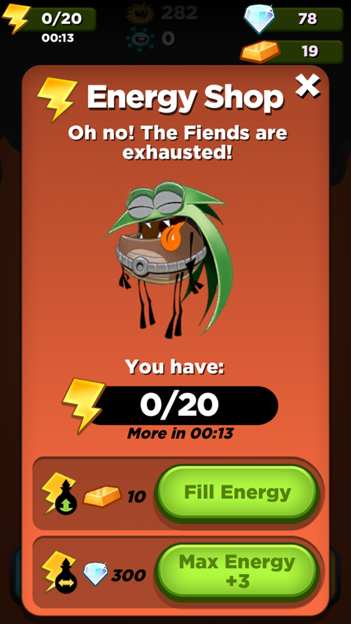 Best Fiends Energy Shop