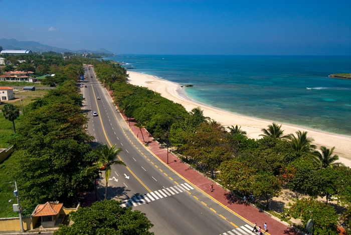 Looking along the Malecon in Puerto Plata