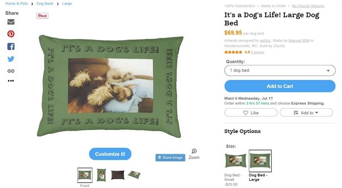 Zazzle Dog Bed