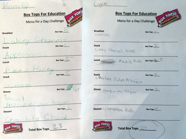 Box Tops For Education Finished Menus