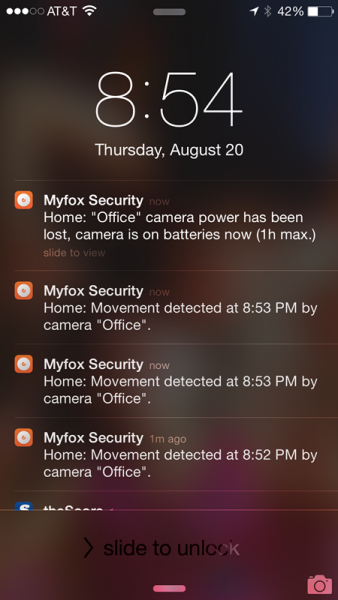 Myfox Notifications
