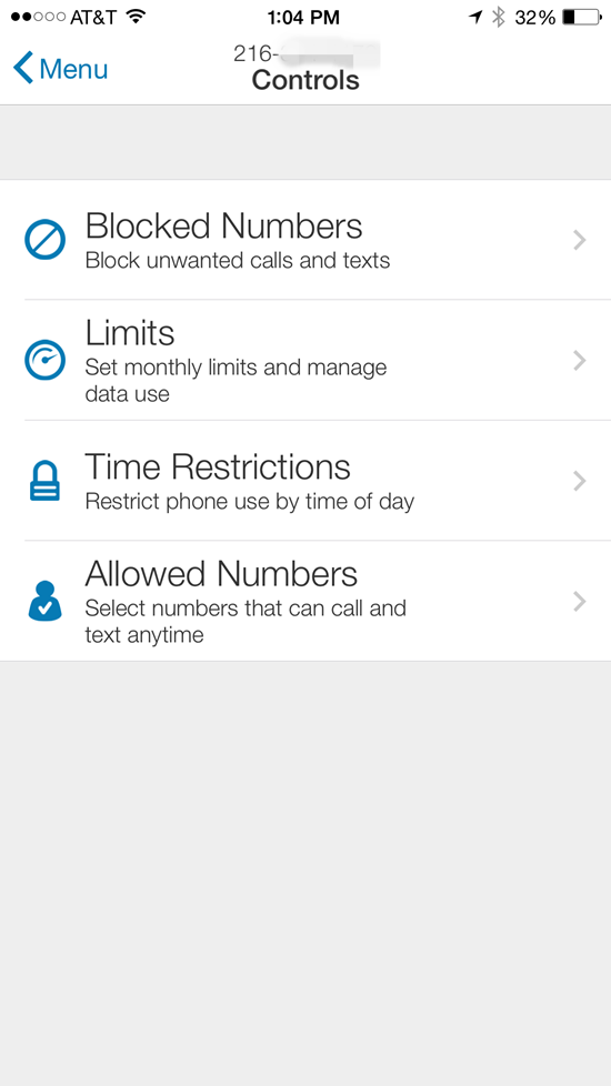 AT&T Smart Limits Controls