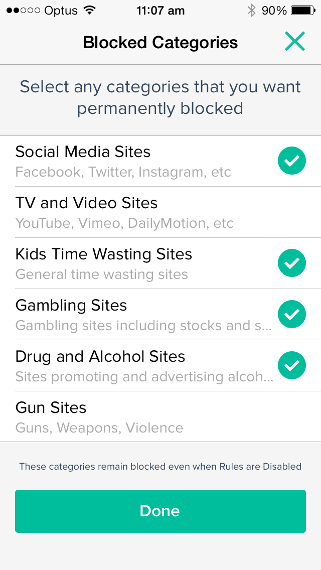 Curbi Blocked Categories