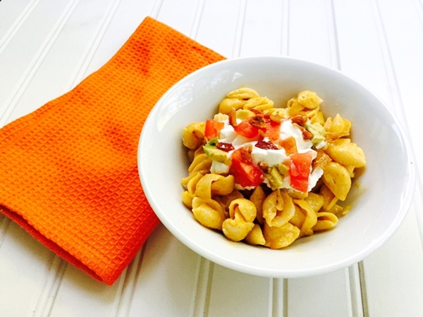 Chipotle Shells & Cheese Topped With Avocado, Bacon & Sour Cream