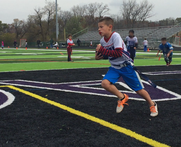 Fall Flag Football Fun – Logan Scores A Touchdown!