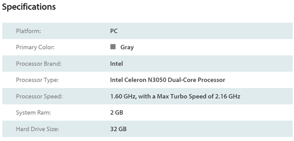 Acer Aspire One Cloudbook Specs