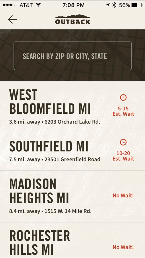 Outback App Locations and Wait Time