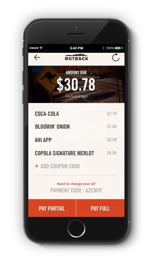Outback App Pay Bill