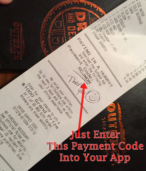 Outback App Payment Code