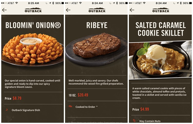 Outback App Menu Options