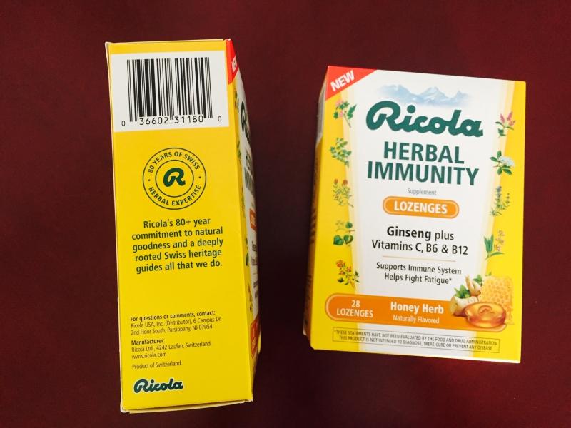 Ricola Herbal Immunity Lozenges Info