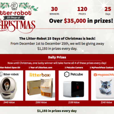 Enter To Win In Litter-Robot's 25 Days Of Christmas – $35,000 In Prizes