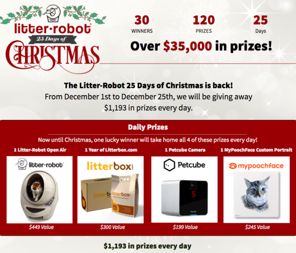 Litter Robot 25 Days of Christmas Sweepstakes