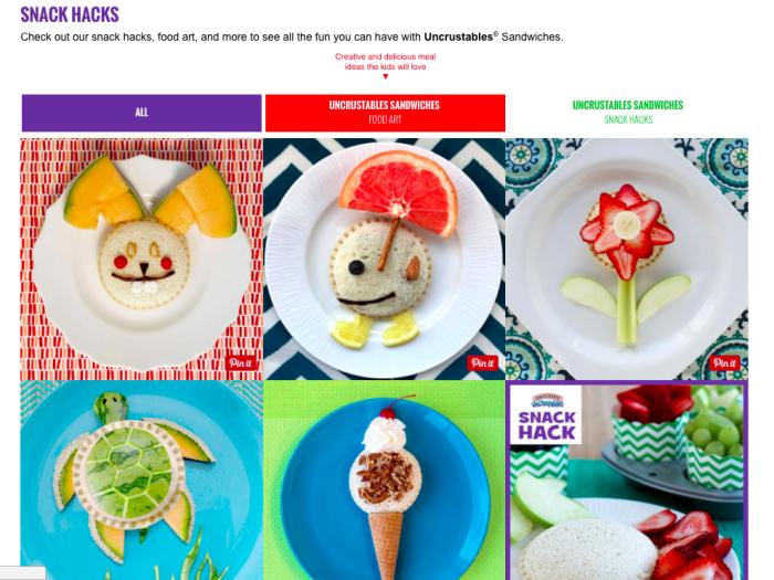Uncrustables Food Art Snack Hacks