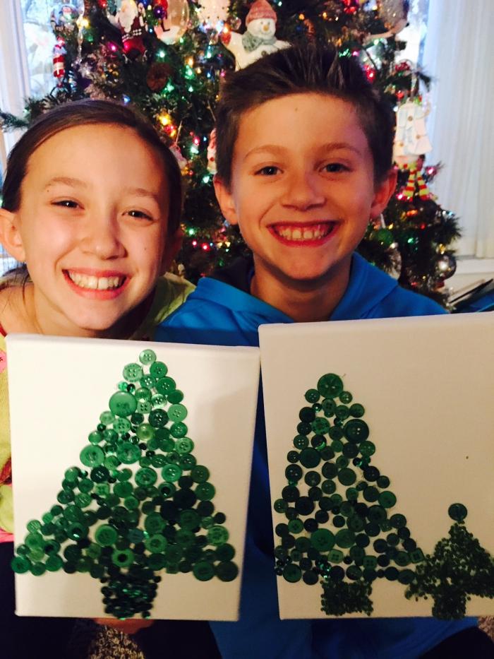 DIY Button Christmas Trees - Easy