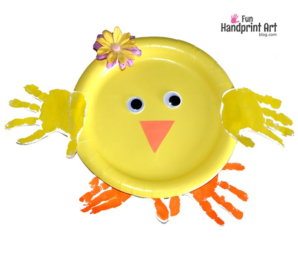 Easter Crafts For Kids - Paper Plate Handprint Chick