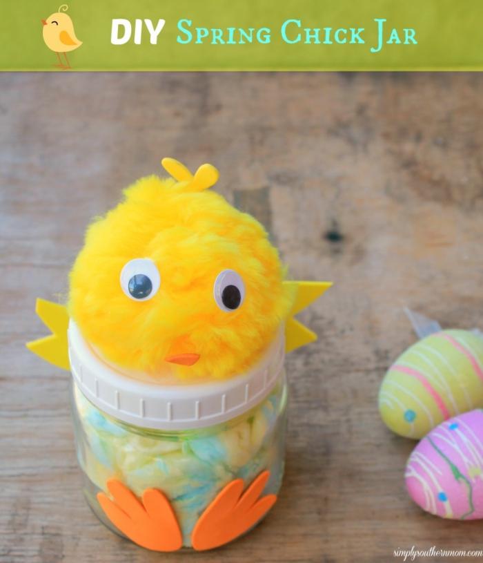 Easter Crafts For Kids - Spring Chick Mason Jar Craft
