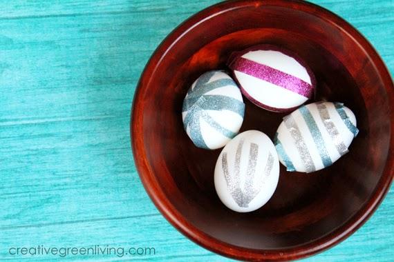Easter Egg Decorating Ideas - No Mess Glitter Eggs