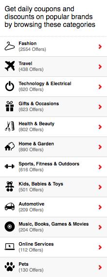 Coupon Dash Categories