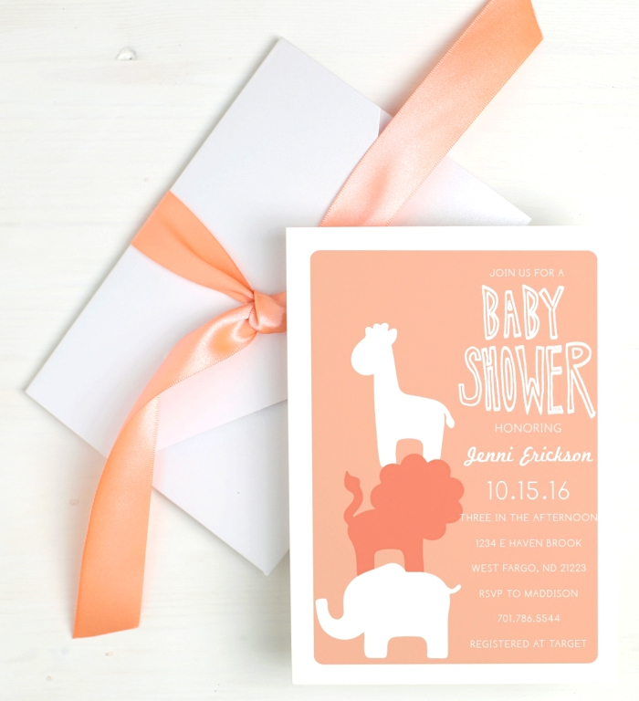 Baby Shower Invite - Basic Invite Cute Animals