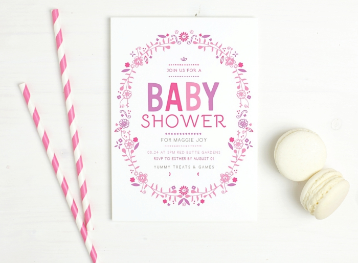 Baby Shower Invite - Basic Invite Flowers