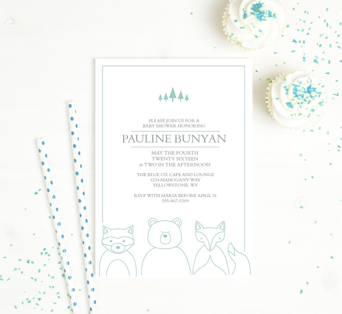 Baby Shower Invites - Basic Invite Animals