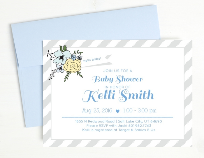Baby Shower Invites - Basic Invite Blue Flowers