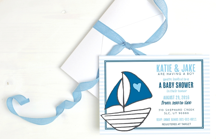 Baby Shower Invites - Basic Invite Sailboat