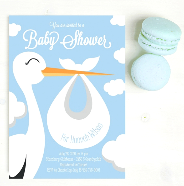Baby Shower Invites - Basic Invite Swan