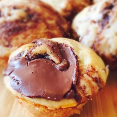Nutella Swirled Pancake Mini Muffins
